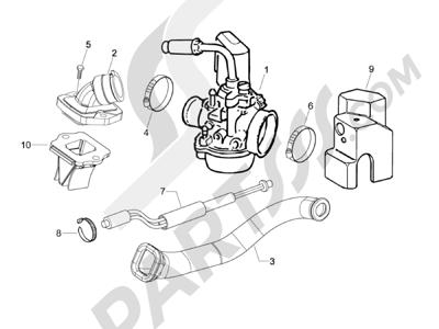 Piaggio NRG Power DT Serie Speciale 2007-2012 Carburador completo - Racord admisión