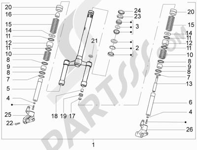 Piaggio NRG Power DT Serie Speciale 2007-2012 Horquilla Tubo direccion - Conjunto tejuelos