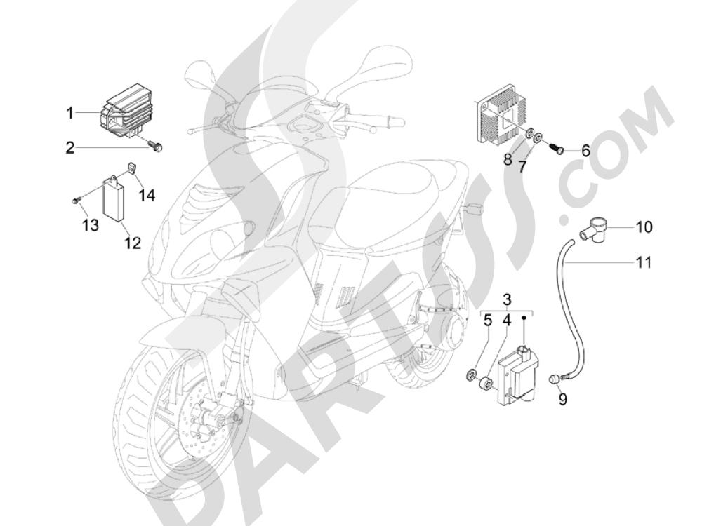Piaggio NRG Power DT Serie Speciale 2007-2012 Reguladores de tensión - Centralitas electrónicas - Bobina A.T.