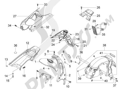 Piaggio NRG Power Pure Jet 2010-2011 Cubierta trasera - Salpicador