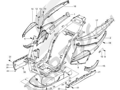 Piaggio NRG Power Pure Jet 2010-2011 Cubiertas laterales - Spoiler
