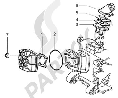 Piaggio NRG Power Purejet 1998-2005 Culata y racor de admision