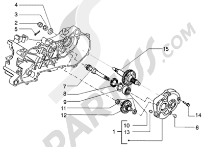 Piaggio NRG Power Purejet 1998-2005 Eje rueda trasera