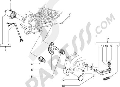 Piaggio NTT 1998-2005 Motor de arranque-Palanca de arranque