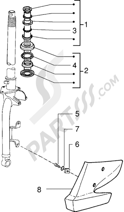 Piaggio Sfera RST 125 1998-2005 Cojinetes de dirección