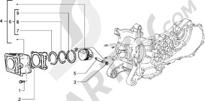 Piaggio Sfera RST 125 1998-2005 Grupo cilindro-piston-eje de piston