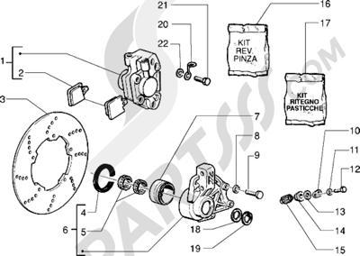 Piaggio Sfera RST 125 1998-2005 Pinza freno - Disco