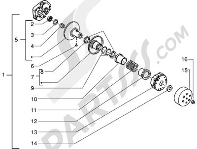 Piaggio Sfera RST 50 1998-2005 Polea conducida
