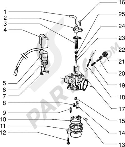 Piaggio Sfera RST 80 1998-2005 Carburador