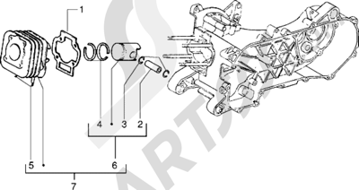 Piaggio Sfera RST 80 1998-2005 Grupo cilindro-piston-eje de piston