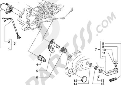 Piaggio Sfera RST 80 1998-2005 Motor de arranque-Palanca de arranque