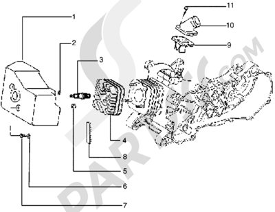 Piaggio Skipper 125 1998-2005 Culata - deflector y racor de admision