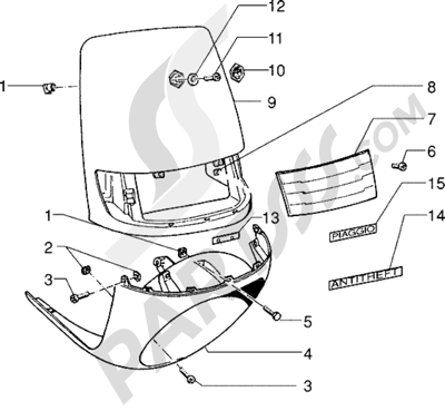 Piaggio Skipper 125 1998-2005 Escudos - mascara