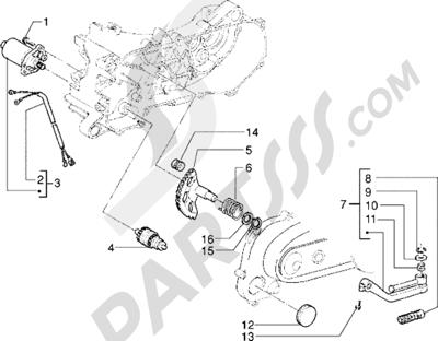 Piaggio Skipper 125 1998-2005 Motor de arranque-Palanca de arranque