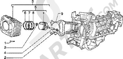 Piaggio Skipper 125 4T 1998-2005 Grupo cilindro-piston-eje de piston