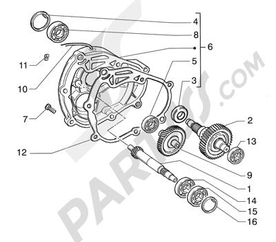 Piaggio Super Exagon GTX 12 HASTA 1997 Eje rueda