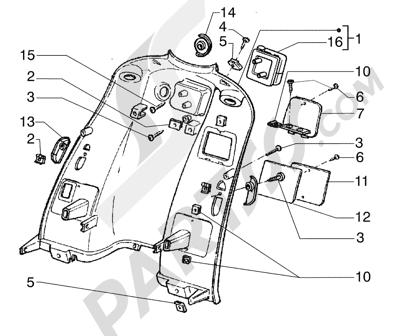 Piaggio Super Exagon GTX 12 HASTA 1997 Escudo interno