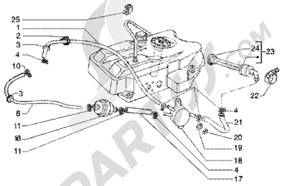 Piaggio Super Hexagon GTX 125 1998-2005 Bomba combustible