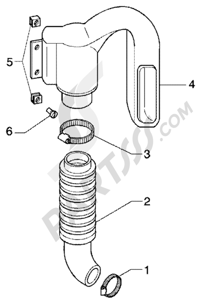 Piaggio Super Hexagon GTX 125 1998-2005 Conducto refrigeracion correa- tubo de admission