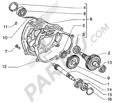 Piaggio Super Hexagon GTX 125 1998-2005 Eje rueda trasera