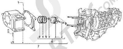 Piaggio Super Hexagon GTX 125 1998-2005 Grupo cilindro-piston-eje de piston
