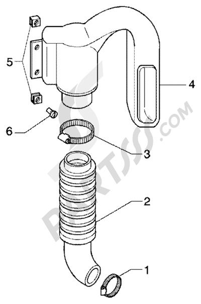 Piaggio Super Hexagon GTX 180 1998-2005 Conducto refrigeracion correa- tubo de admission