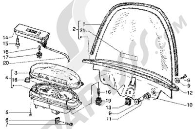 Piaggio Super Hexagon GTX 180 1998-2005 Cuentakilometros-parabrisas