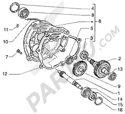 Piaggio Super Hexagon GTX 180 1998-2005 Eje rueda trasera