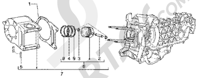 Piaggio Super Hexagon GTX 180 1998-2005 Grupo cilindro-piston-eje de piston