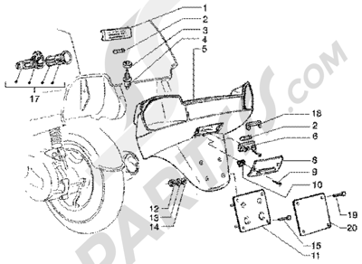 Piaggio Super Hexagon GTX 180 1998-2005 Porta matricula y luz compart Portamaleta