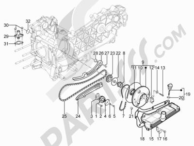 Piaggio Typhoon 125 4T 2V E3 (USA) 2011-2015 Bomba de aceite