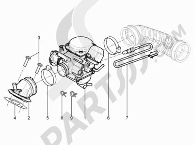 Piaggio Typhoon 125 4T 2V E3 (USA) 2011-2015 Carburador completo - Racord admisión