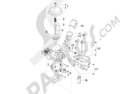 Piaggio Typhoon 125 4T 2V E3 (USA) 2011-2015 Componentes de carburador