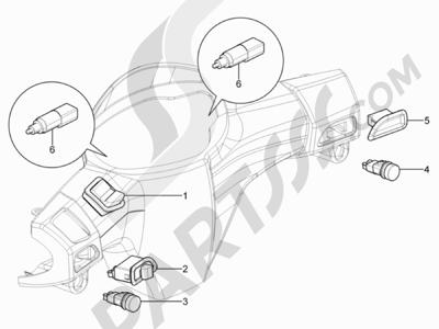 Piaggio Typhoon 125 4T 2V E3 (USA) 2011-2015 Conmutadores - Conmutadores - Pulsadores - Interruptores