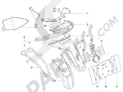 Piaggio Typhoon 125 4T 2V E3 (USA) 2011-2015 Cubierta trasera - Salpicador