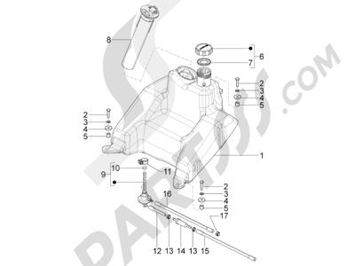 Piaggio Typhoon 125 4T 2V E3 (USA) 2011-2015 Depósito carburante