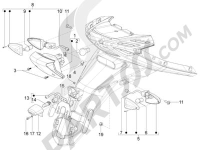 Piaggio Typhoon 125 4T 2V E3 (USA) 2011-2015 Faros traseros - Indicadores de dirección