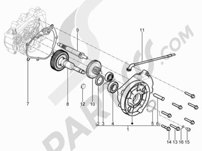 Piaggio Typhoon 125 4T 2V E3 (USA) 2011-2015 Grupo reductor