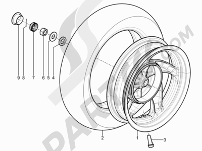 Piaggio Typhoon 125 4T 2V E3 (USA) 2011-2015 Rueda trasera