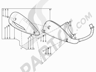 Piaggio Typhoon 125 4T 2V E3 (USA) 2011-2015 Silenciador
