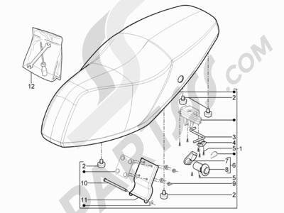 Piaggio Typhoon 125 4T 2V E3 (USA) 2011-2015 Sillín asientos