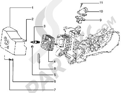 Piaggio Typhoon 125 X 1998-2005 Culata-deflector y racor de admision