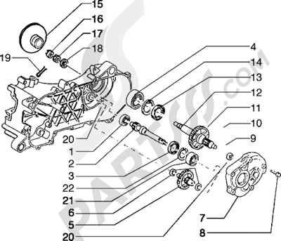 Piaggio Typhoon 125 X 1998-2005 Eje rueda trasera