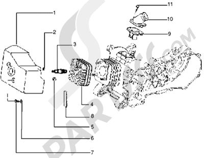 Piaggio Typhoon 125 XR 1998-2005 Culata-deflector y racor de admision