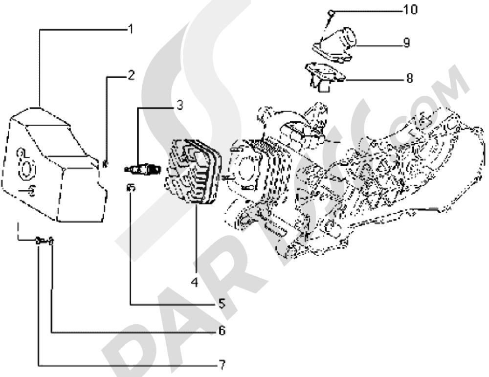 Culata-deflector y racor de admision Piaggio Typhoon 50 1998-2008