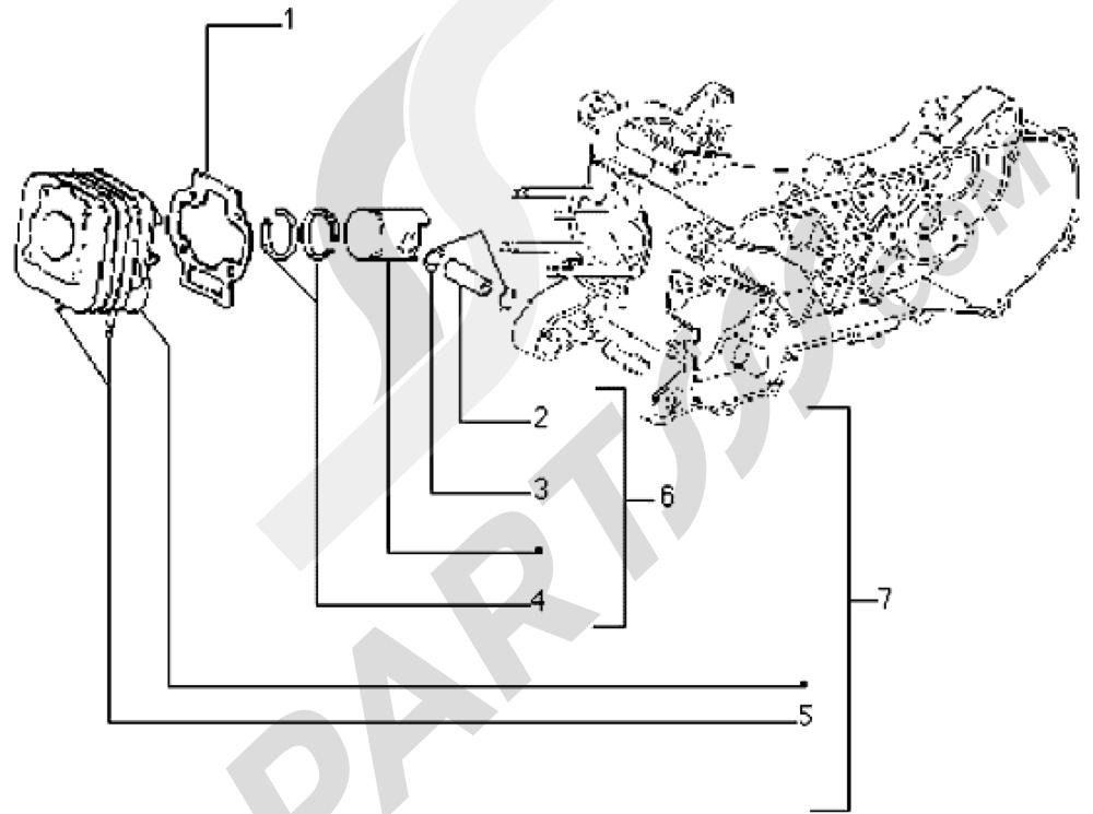 Grupo cilindro-piston-eje de piston Piaggio Typhoon 50 1998-2008