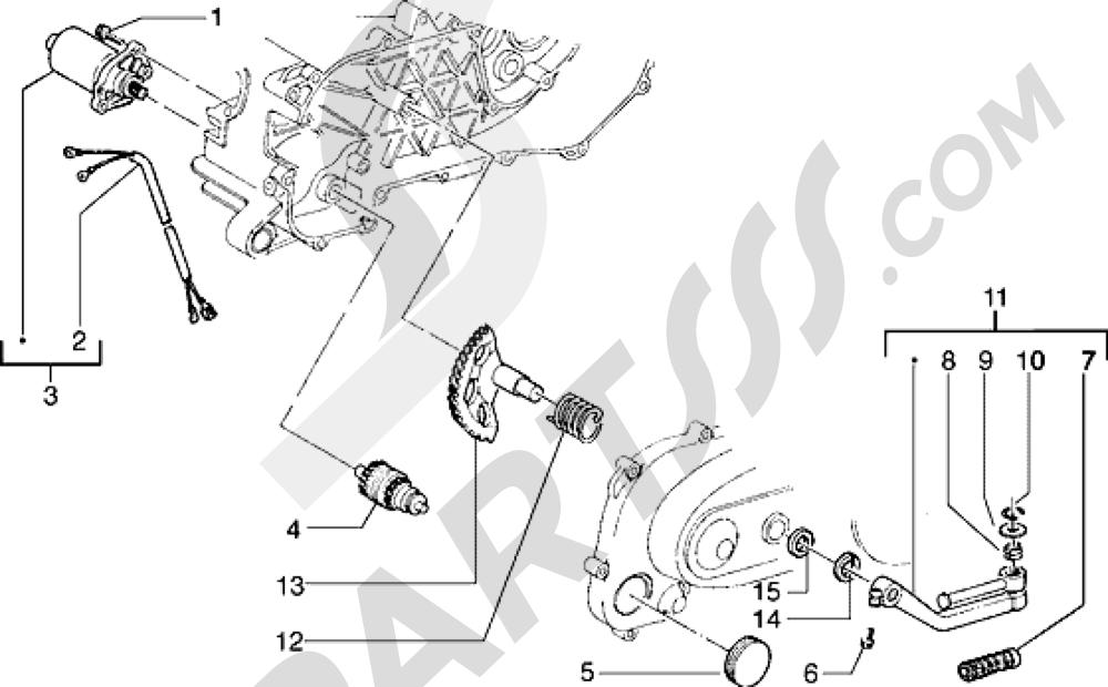 Motor de arranque-Palanca de arranque Piaggio Typhoon 50 1998-2008