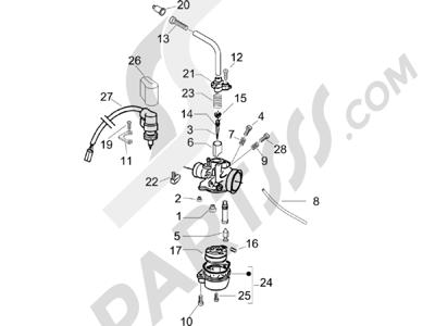 Piaggio Typhoon 50 (UK) 2006 Componentes de carburador