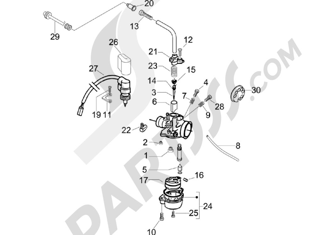 Componentes de carburador Piaggio Typhoon 50 2006-2008