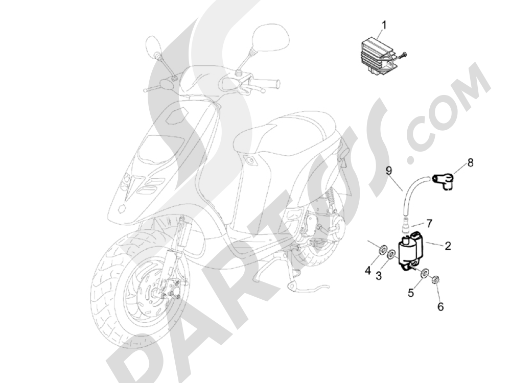 Reguladores de tensión - Centralitas electrónicas - Bobina A.T. Piaggio Typhoon 50 2006-2008